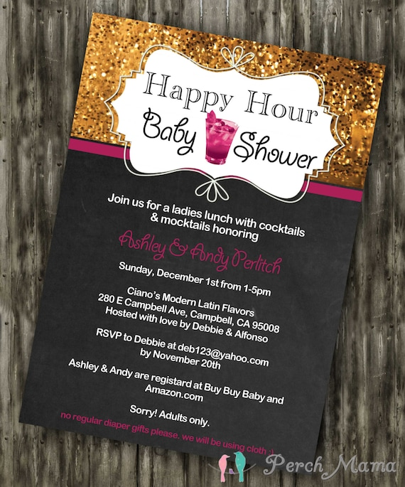Happy Hour Baby Shower Invite by PerchMama on Etsy