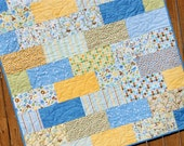 Blue & Yellow Baby Boy Quilt Snips and Snails Pastel Green Brown Animal Blanket Handmade Nursery Bedding
