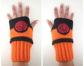 Original Naruto Inspired Shippuden Geeky Gauntlets. Wrist warmers. Anime Ninja Fingerless Glove. Super Hero Series. Crochet Konoha Cosplay.
