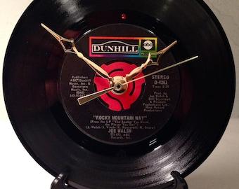 """Recycled JOE WALSH 7"""" Record / Rocky Mountain Way / Record Clock"""