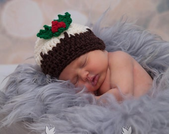 Crochet Christmas Pudding Hat & Holly and Berries Trim -  INSTANT DOWNLOAD PDF from Thomasina Cummings Designs