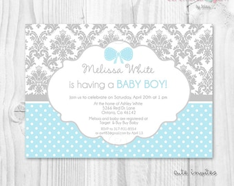 Printable baby shower boy invitation blue and grey damask, polka dot