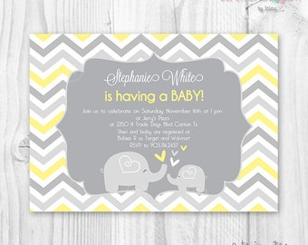 Baby shower chevron invitation yellow and grey chevron baby elephant