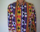 Vintage Ladies Western Shirt, Cowgirl Rodeo Wear, Side Saddle, Size Medium, 100% Cotton