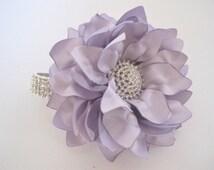 Stunning Lavender Satin Flower Rhinestone Wrist Corsage Bracelet Bridesmaid Mother of the Bride Prom with Rhinestone Accent Custom Order
