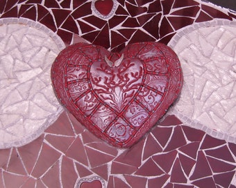 Heart with Wings Mixed Media Mosaic Wall Art