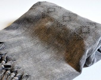 Turkish Towel Rug pattern Peshtemal towel Cotton Peshtemal Stone washed dark grey Towel, genuine hand loomed