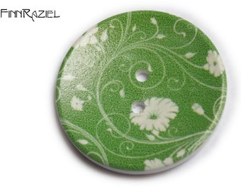 2 giant buttons flowered green Ø40mm for jacket or coat