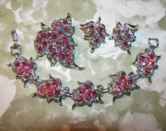 Vintage  Sarah Coventry Silver Tone Red AB Bracelet-Earrings-Brooch Set