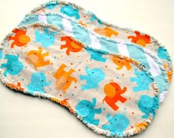 Baby boy burp cloths.  Ragged edges,  flannel burp cloth, burp rags, burpcloth, burprags, elephants, chevron