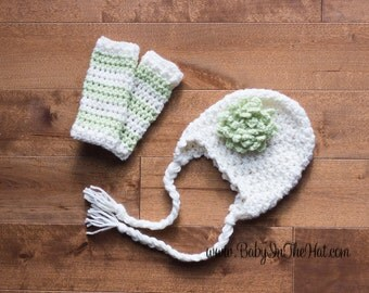 Newborn Flower Green and Cream Ear Flap Hat And Striped Leg Warmers Photo Prop Set Infant 0-12 Months