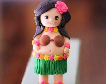 Edible girl topper. Hawaiian hula girl fondant.
