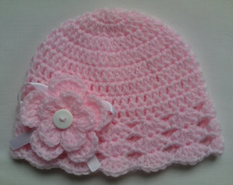 Crochet Baby Kids Toddler Hat Beanie children gift girl flower