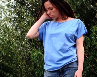 blue organic cotton CYPRESS top blouse shirt draped fancy boatneck