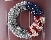 18 Inch Military Wreath - Uniform Wreath - Amry and American Flag Wreath - Ready to Ship