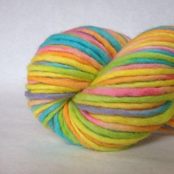 "Rainbow yarn, chunky wool, hand painted in ""Lollipop"""