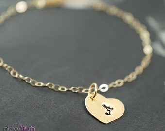 Gold bracelet, Bridesmaids gifts, Thin chain elegant bracelet with heart charm, gold filled, personalized bracelet