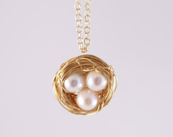 Gold Bird Nest Necklace with White Freshwater Pearl Eggs