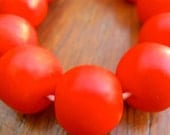 Resin beads 14 mm  solid jaffa orange 1 x strand of 30