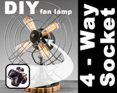 Four Way Light Socket, Create your own Fan Lamp, DIY, Repurpose, Upcycle, Industrial Lighting, 4 Bulb, Edison, GE, Westinghouse, Home Decor