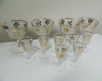 Gold Leaf Martini and Cordial Glasses