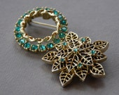 Blue Topaz Rhinestone Brooch Set of Two Snowflake Floral Circle Gold Tone Aqua Mad Men 1960's // Vintage Costume Jewelry