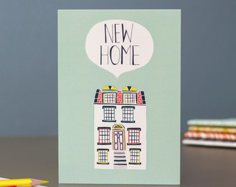 New Home blank greetings card designed by Jessica Hogarth Designs. Designed and printed in the UK.