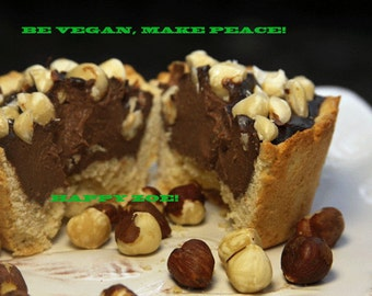 Vegan Delicious Creamy Hazelnut chocolate  Baby Cheesecakes, love, animal free cruelty,no eggs,no dairy. Perfect for Valentine's Day.