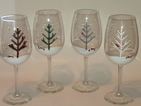 Items similar to winter tree cardinal cabin scene hand for Christmas glass painting designs