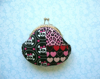 Handmade Pink Rose and Skull small clutch / coin purse- Birthday Gift, Holiday Gift