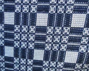 Indigo and White Double-Woven Jacquard Coverlet