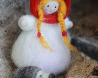 Red Riding Hood and her friend hedgehog - needle felt finger puppet