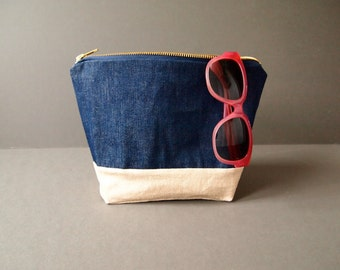 Large Zipped Pouch - Gold Linen and Indigo Denim Large Cosmetic make up Bag Pouch