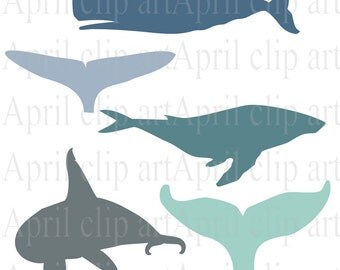 Whales and Tails Silhouette  Clip Art Set, Digital Clipart, scrapbooking, beach, sea