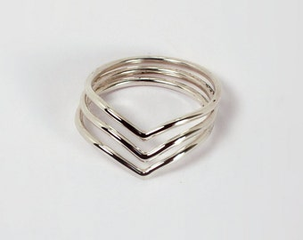 3 Chevron Stacking Rings, Sterling Silver, Made to Order