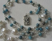 Larimar and pearls lotus mala