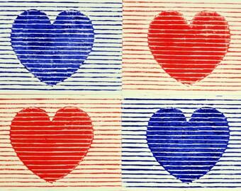 Love Love Love card - linocut - blue red