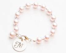 Pink hand stamped baby bracelet, Initial bracelet, girl pearl bracelet, newborn bracelet, christening gift, baby girl, baby gift, twins