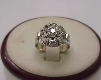 Antique  European Gothic Victorian 18K White Gold  Genuine .20ct Solitaire Diamond Hand Made Ring,1900s