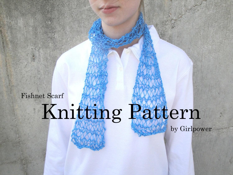 Fishnet Scarf Knitting Pattern : Easy Scarf Knitting Pattern Fishnet Scarf Beginner Knitter