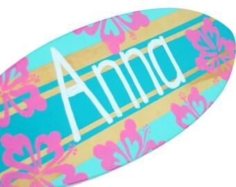 Surfboard Sign, 18 inch Personalized Surf Board Wall Art, Custom Surfer Decoration, Girls Nursery Baby Decor