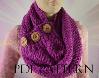 KNITTING PATTERN SCARF Chunky knit scarf pdf pattern - LouLou kiss Scarf Cowl Pattern - Big Scarf Cowl with wooden Buttons Instant Download