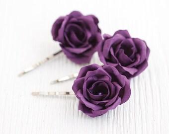 72_Hair accessories, Purple wedding, Hair flower, Hair rose, Bridal hair accessories, Flower hair pins, Violet rose Floral hair clips Flower