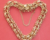 Valentine Bracelet 24.9 gr 14K Yellow Gold No Charm signed American a   Double Links  Vinage 1964
