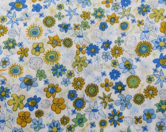SALE/ LIBERTY Of LONDON Tana Lawn Cotton Fabric  'Ibstonian' Yellow/Blue Tiny Floral