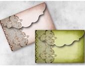 Digital Collage Sheet Download - Vintage Lace Damask Envelopes -  941  - Digital Paper - Instant Download Printables