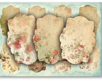 Digital Images - Digital Collage Sheet Download - Vintage Floral Labels -  869  - Digital Paper - Instant Download Printables