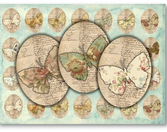 Digital Collage Sheet Download - Vintage Floral Butterflies 30x40mm Ovals -  887   for Jewelry Pendants - Instant Download Printables