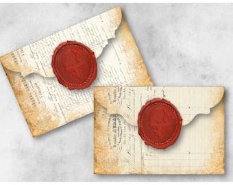 Digital Collage Sheet Download - Wax Seal Ephemera Envelopes -  939  - Digital Paper - Instant Download Printables