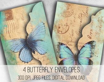 Digital Collage Sheet Download - Vintage Butterfly Envelopes -  1037  - Digital Paper - Instant Download Printables